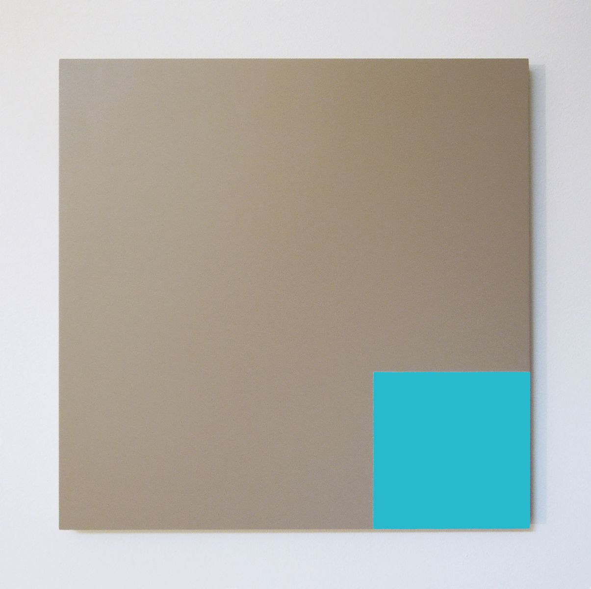 A minimalist taupe square panel with a turquoise square painted in one corner.