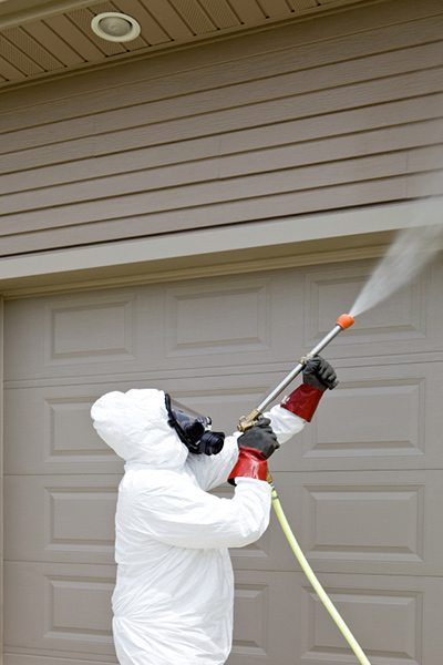 Pest control worker spraying insecticide on garage