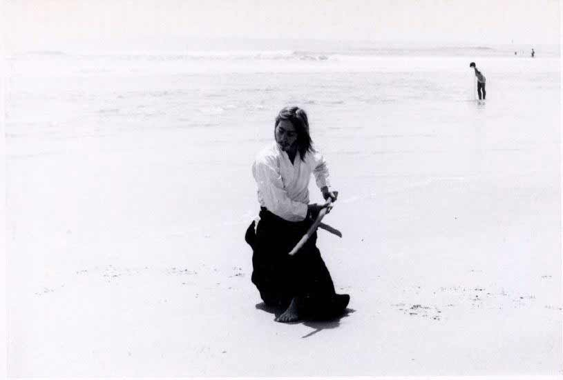 Power Sensei practicing kata on Anastasia Island beach, St. Augustine, FL while a student at Flagler College in 1972.