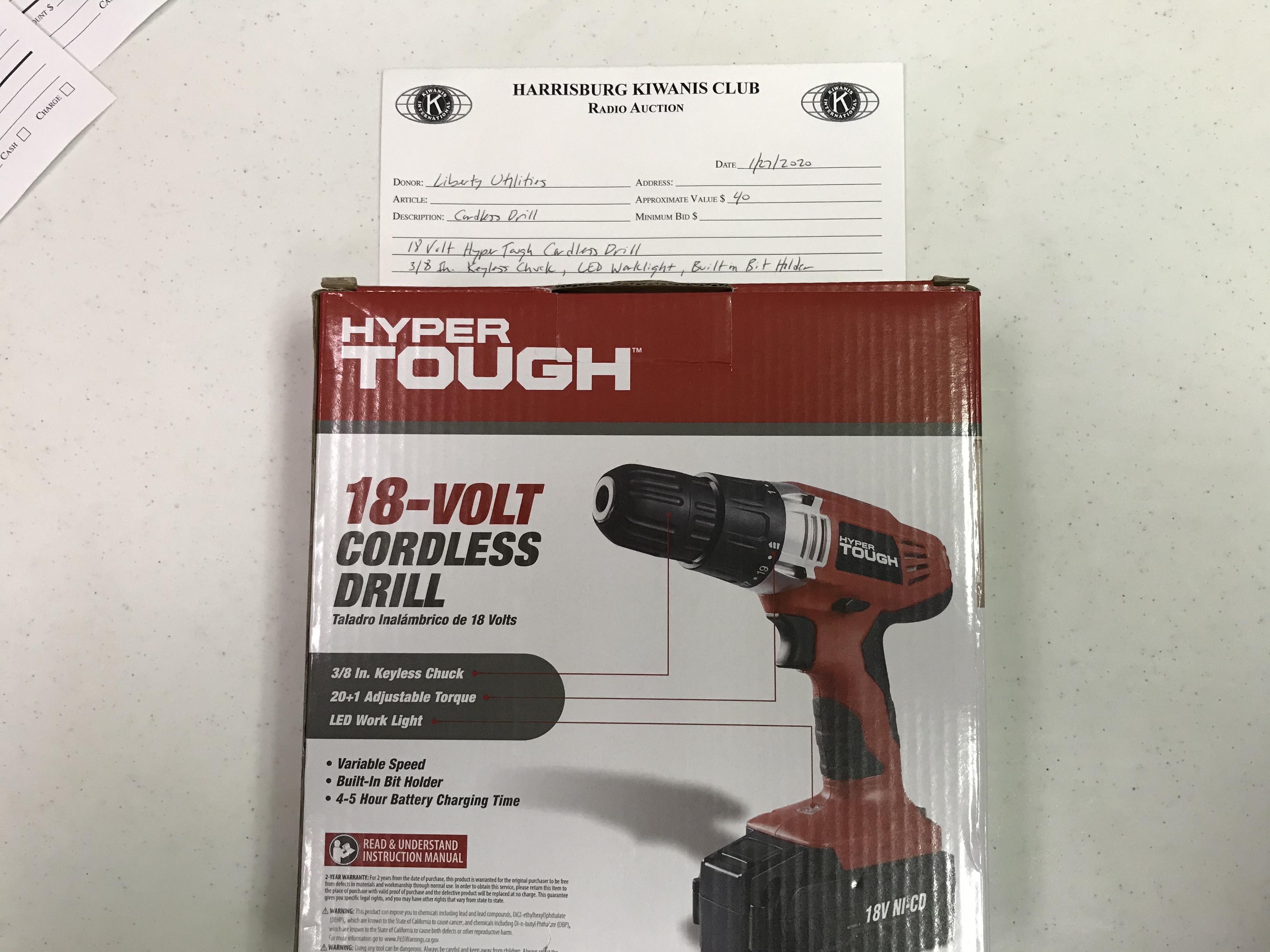 Item 221 - Liberty Utilities Hyper Tough 18 Volt Cordless Drill