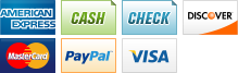 We accept American Express, Cash, Check, Discover, MasterCard, PayPal and Visa.||||