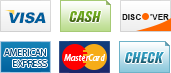 We accept Visa, Cash, Discover, American Express, MasterCard and Check.