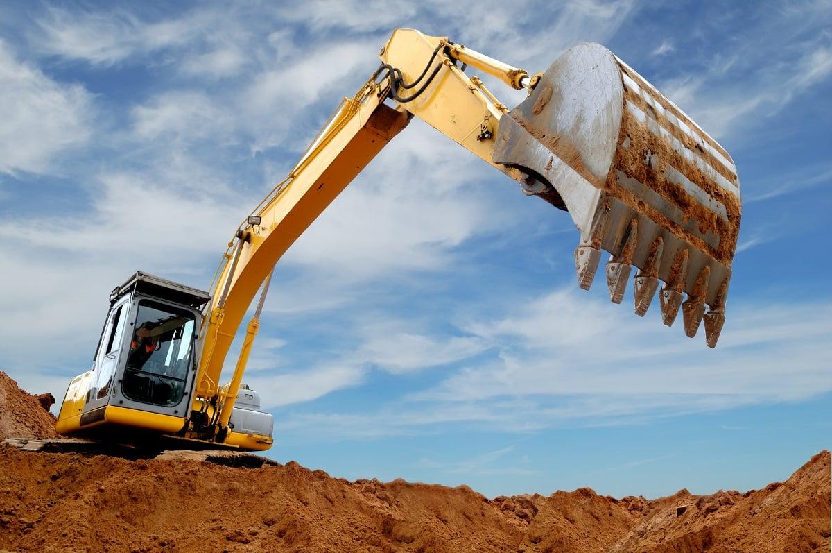 Bulldozer Excavating Land