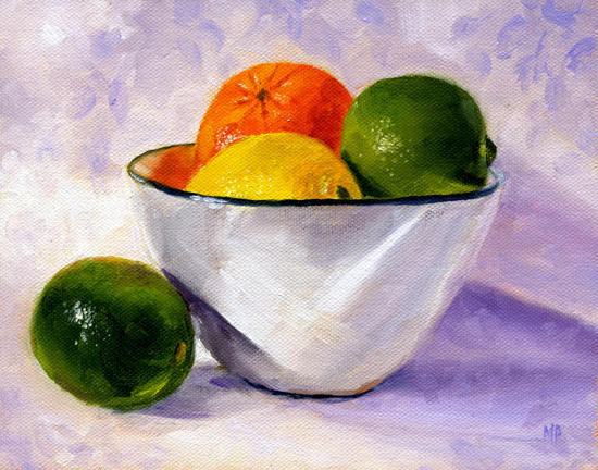 "Citrus Bowl ~ 6""x8""  Oil on Canvas Panel SOLD"