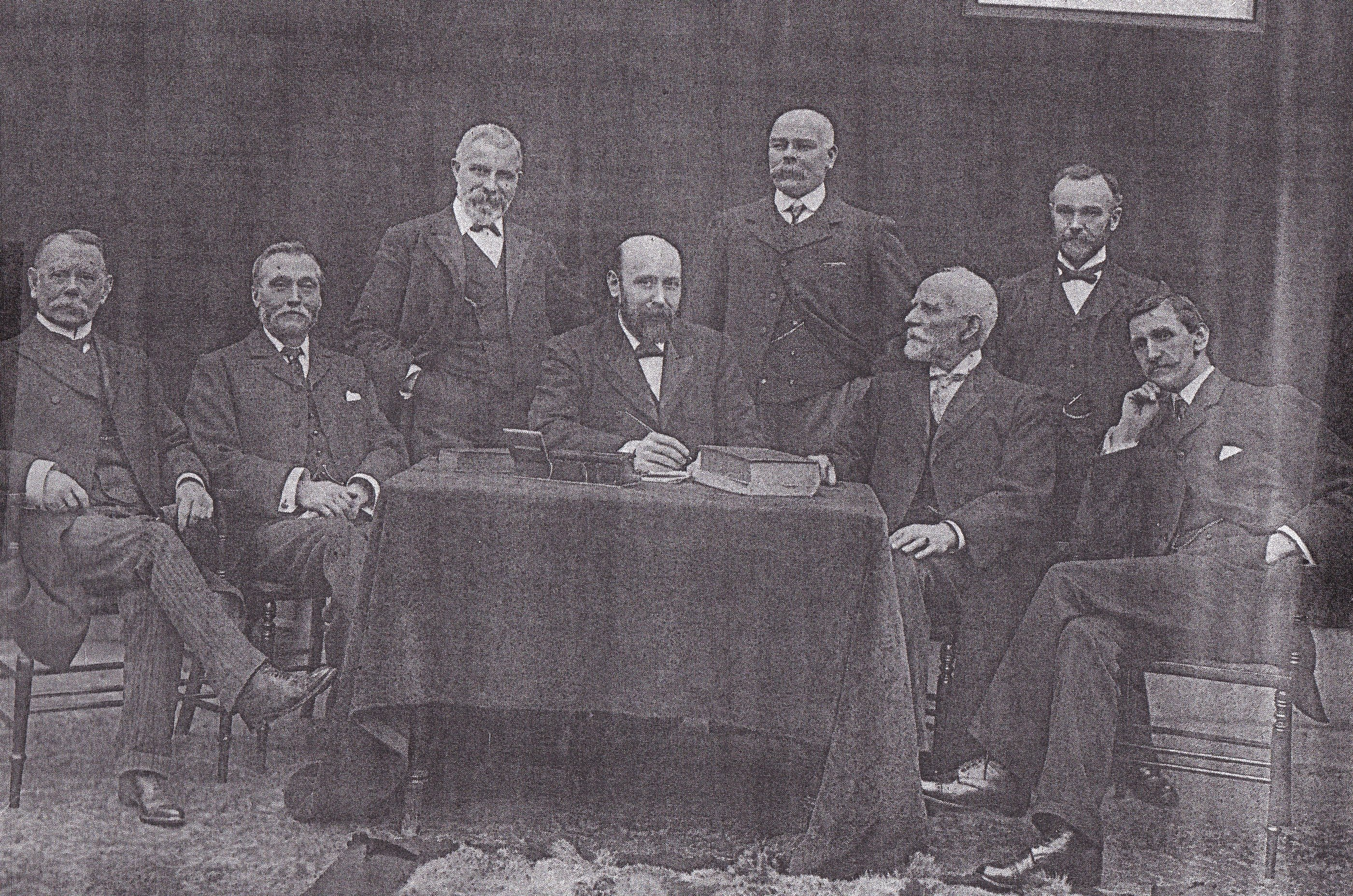 Rev Hill and the First Deacons.  Mr Hodge, Mr Tucker, Mr Vaughan, Mr Moul, Mr Tucker, Mr Hancock and Mr Bulley.