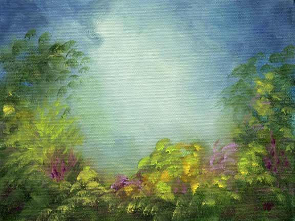 """Dream Garden- 6""""x 8"""" Oil on Stretched Canvas"""