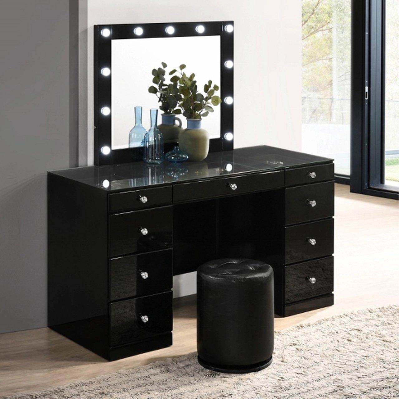 B4850BKSET Avery  Vanity Desk Set Black