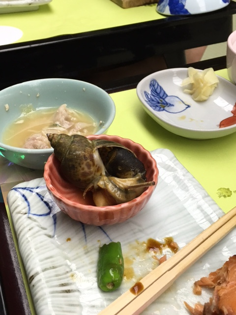 Something Tex had not eaten before at the onsen dinner - he did eat it!
