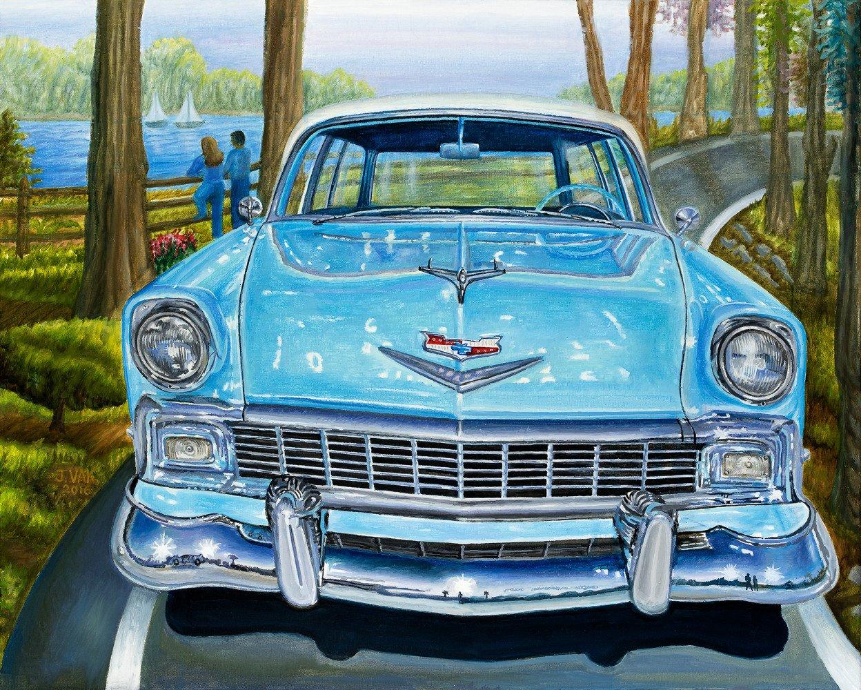 Rareclassic 1956 Chevrolet 210 Handyman Special                         24 X 30 Original Oil                                  $3600                                   2016