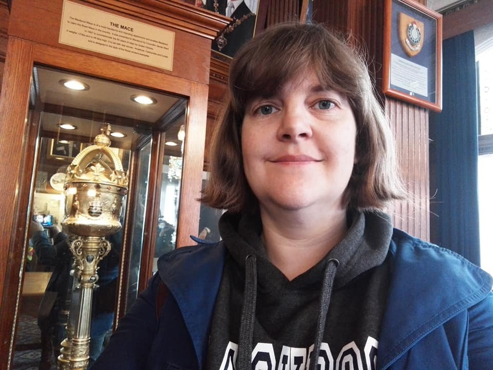 Susan with the Blackpool mace in the Mayor's Parlour, Blackpool Town Hall