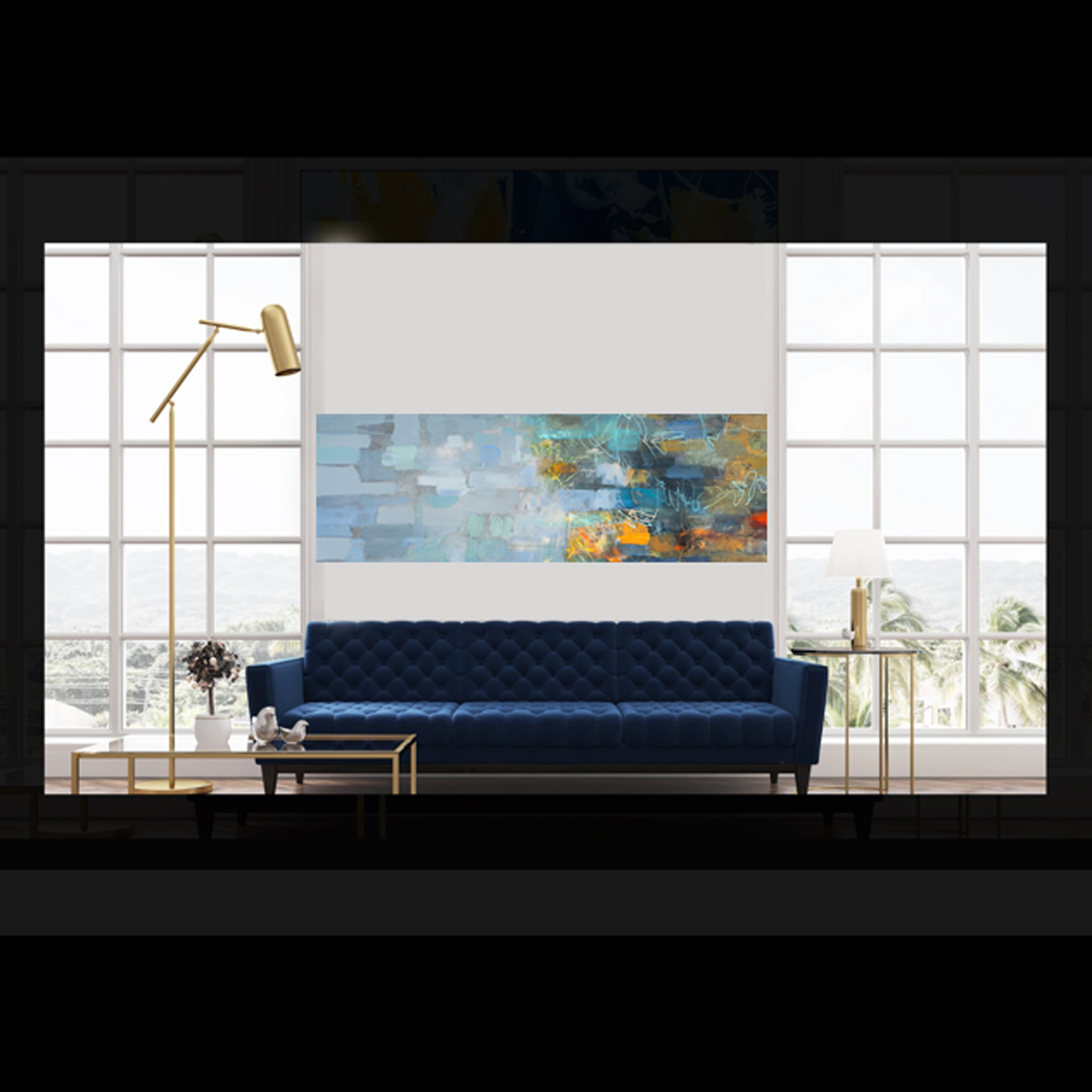 BLUE ARABESQUE #1 24x72 giclee on canvas $900