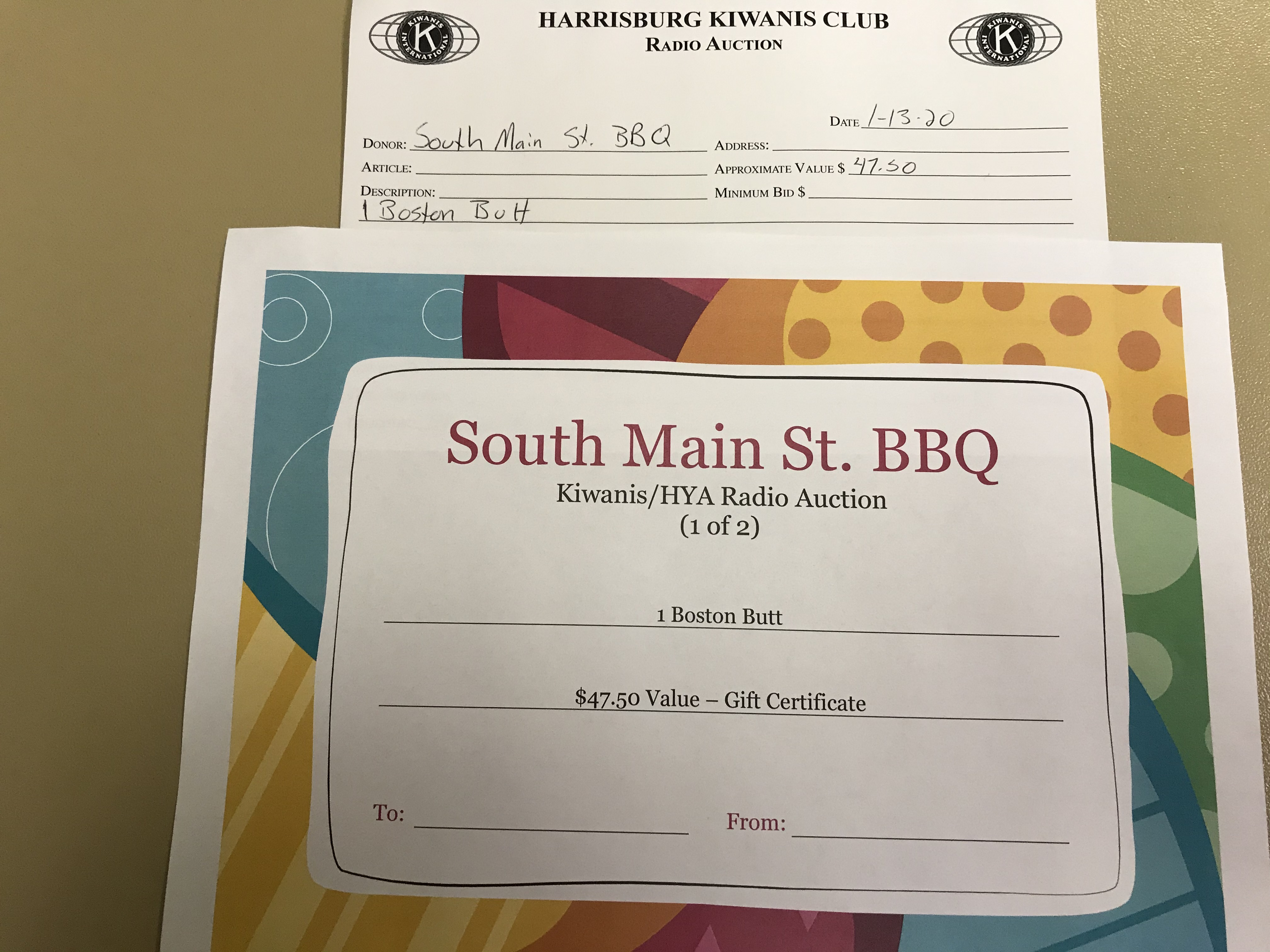 Item 127 - South Main St. BBQ 1 Free Boston Butt