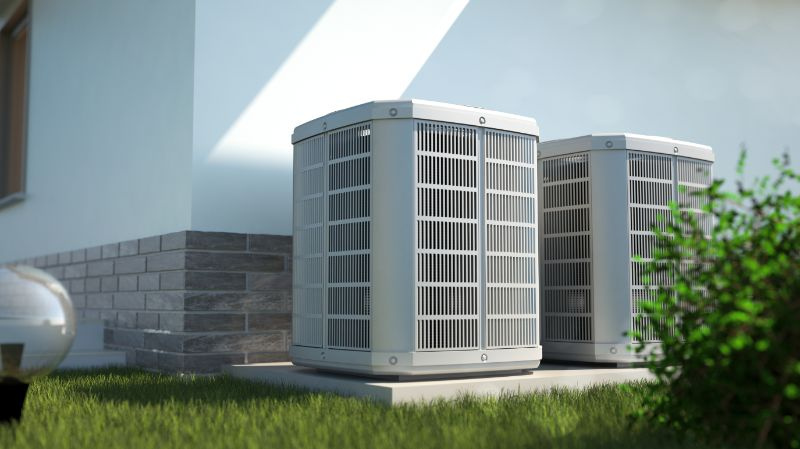 Air heat pumps beside house