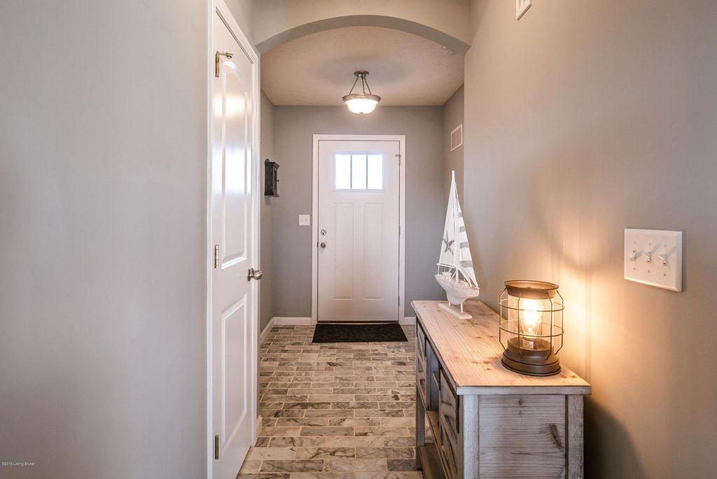 Foyer Flooring Remodel With Marble Floor