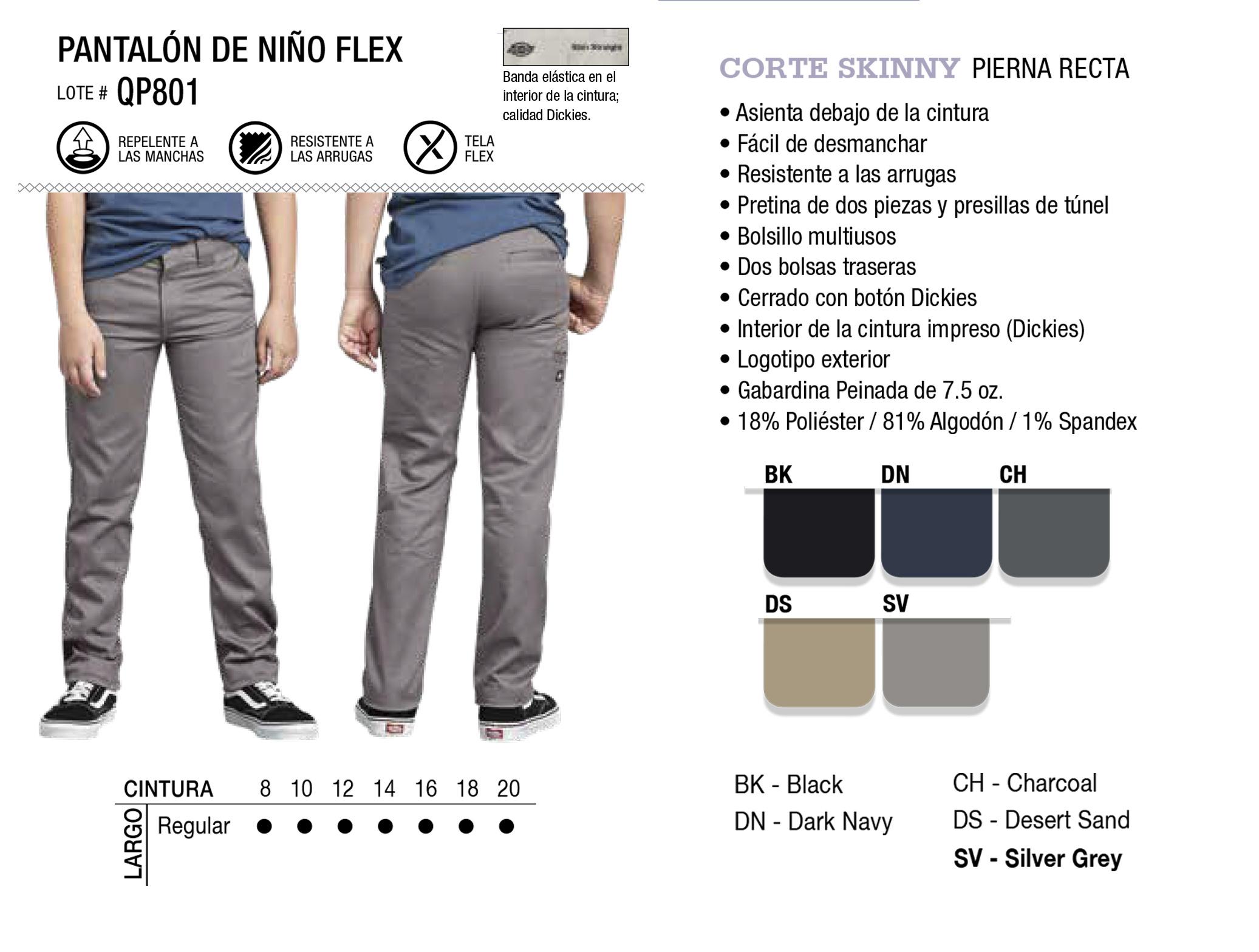 Pantalón de Niño Flex. Corte Recto. QP801.