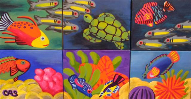 "Carol Spils, Tropical Fish Fantasy, 22""x42"" Acrylic"