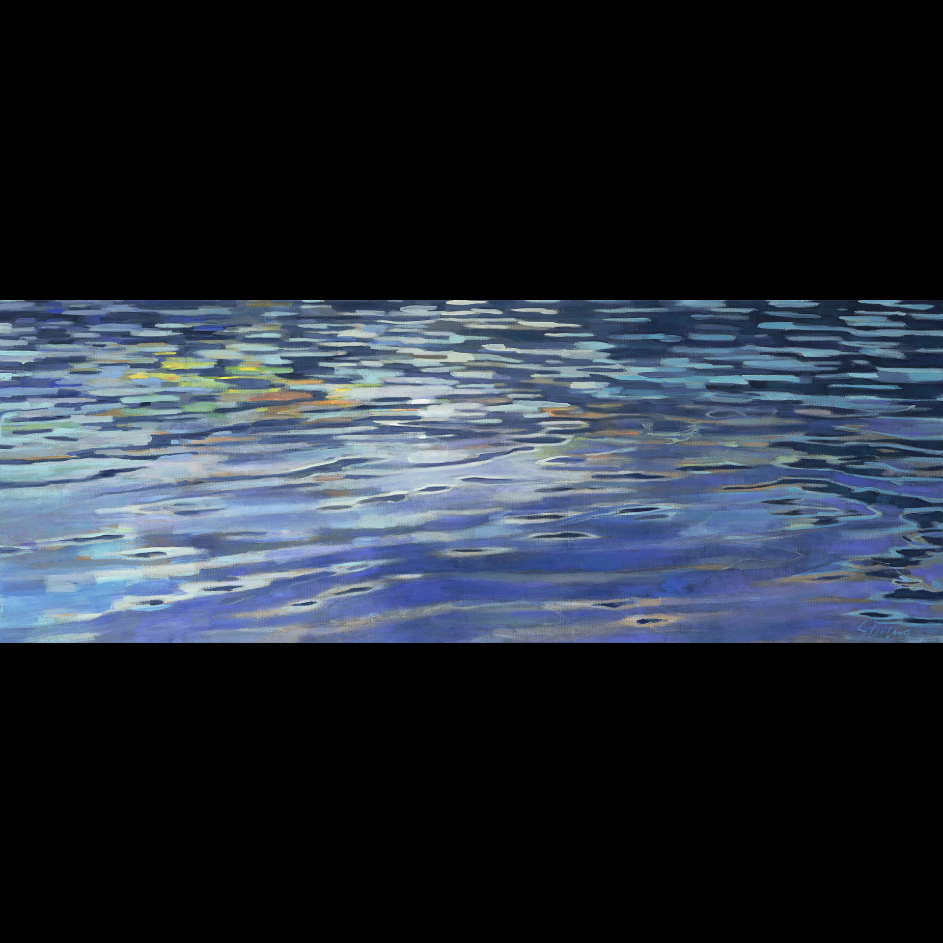 Moonlight Swim II  acrylic on canvas 24x66 SOLD