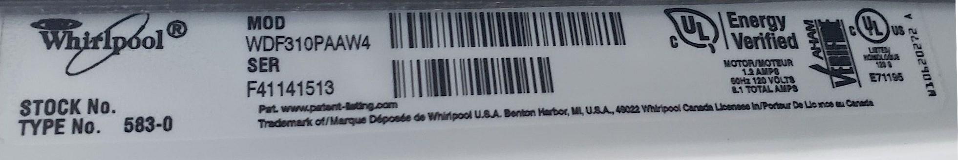 1 White Whirlpool Dishwasher Model Number