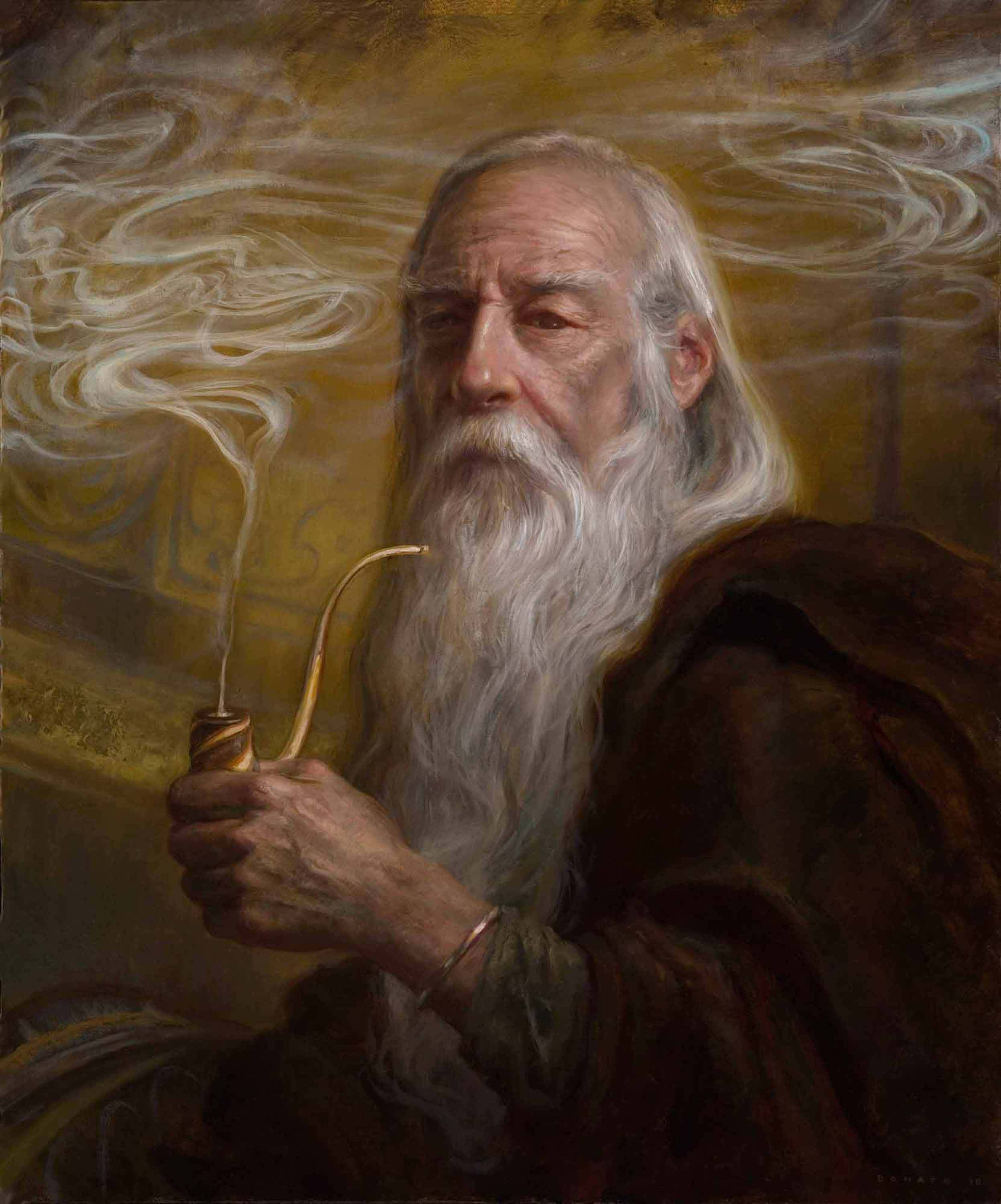 "Gandalf at Rivendell 24"" x 18""  Oil on Panel 2010 private collection"