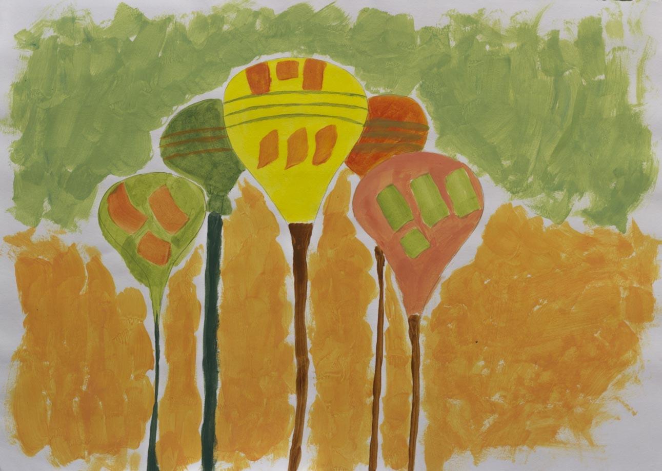 Globos, 2003 Acrilico sobre papel 24 x 34 cm