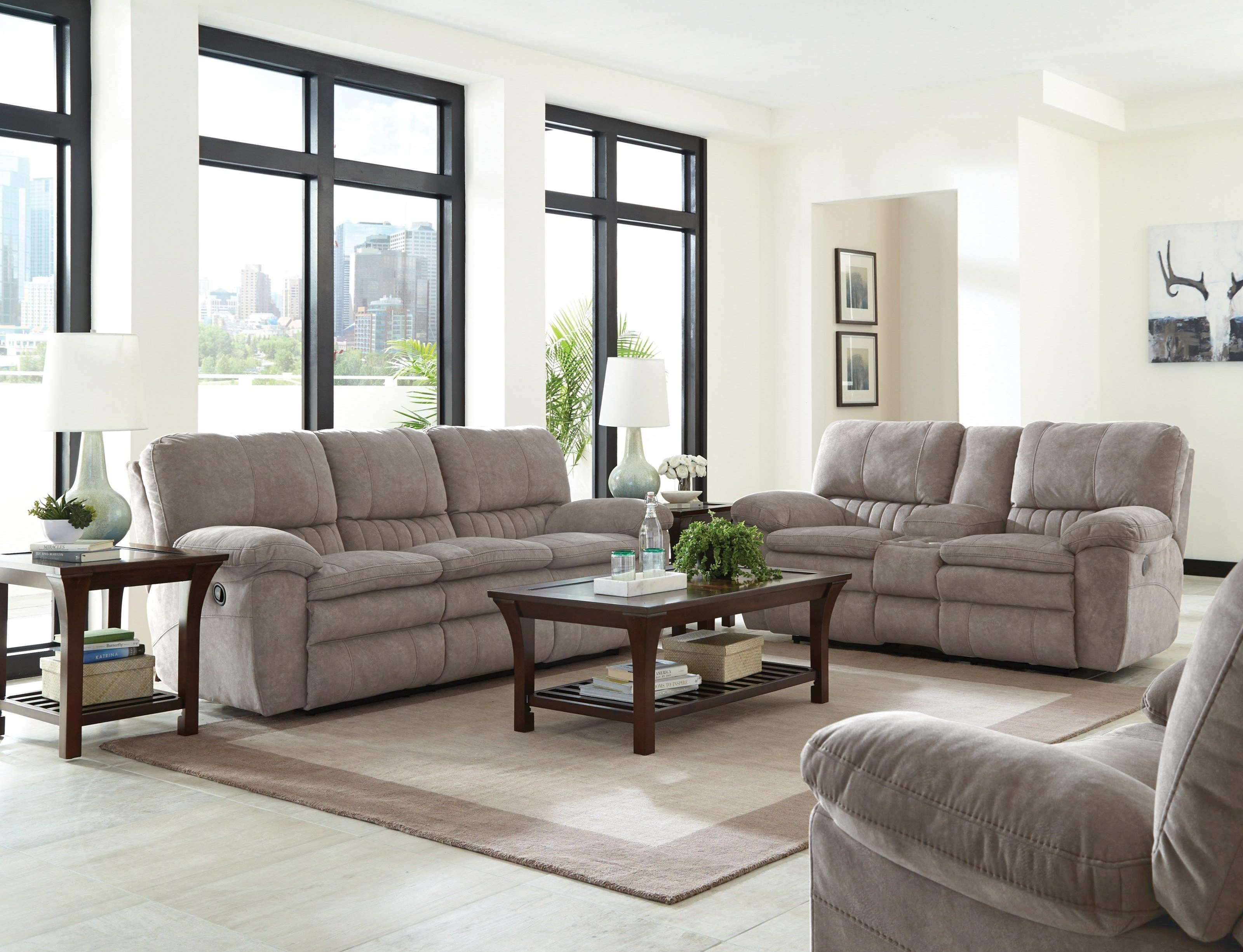 2409 Reyes Gray Reclining Sofa and Loveseat