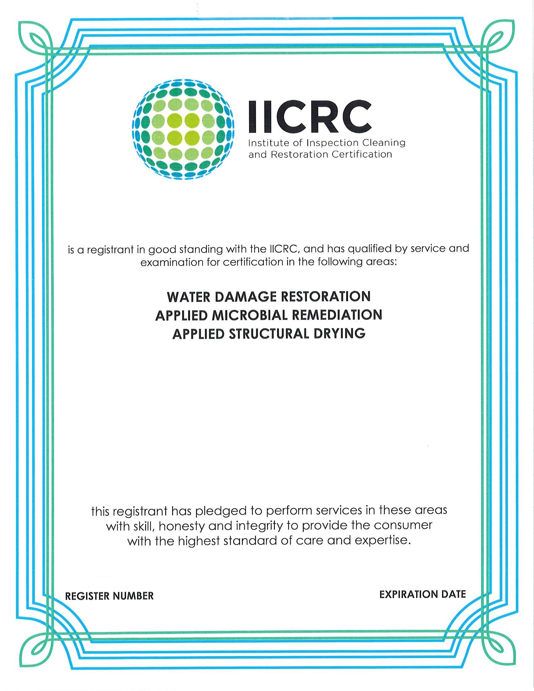 IICRC Certificate 2