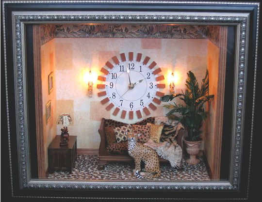 "Wildlife - Bookcase Room 17""w x 7""d x 14""h Cheetah by Karl Blindheim Wall sconces by Phyllis Tucker"