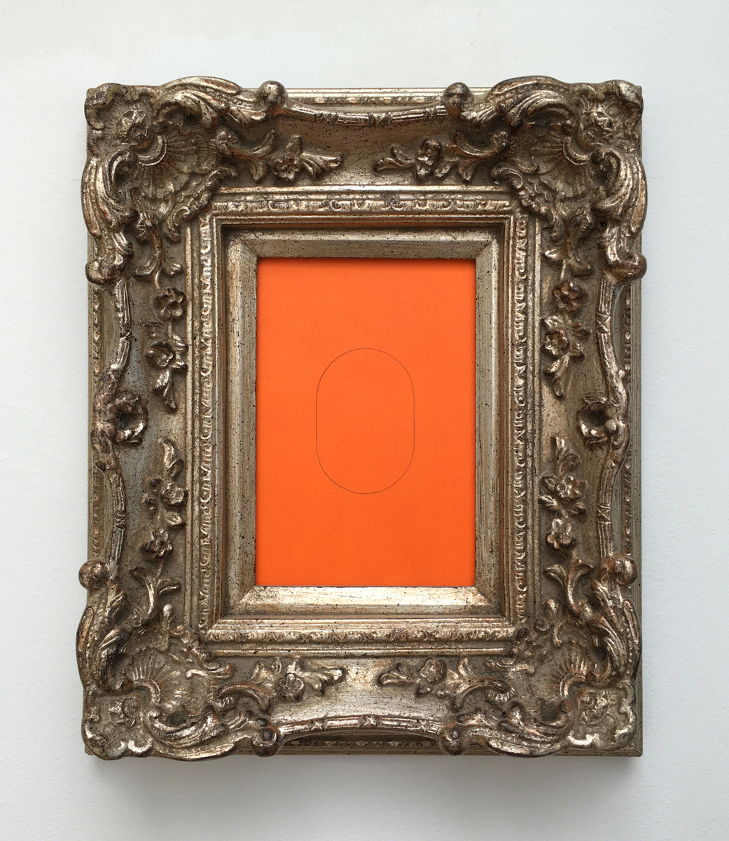 A minimalist pencil line oval on an orange background in an ornate silver frame.