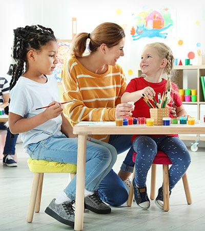 Children With Female Teacher