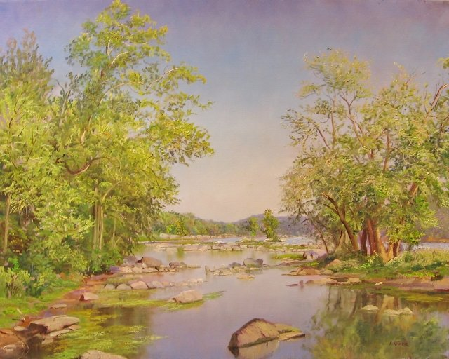 48. Potomac River at Plummers Island Study, 22x28 oil on canvas