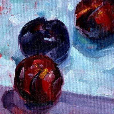 "Three Plums ~ 6"" x 6"" Oil on Canvas Panel"
