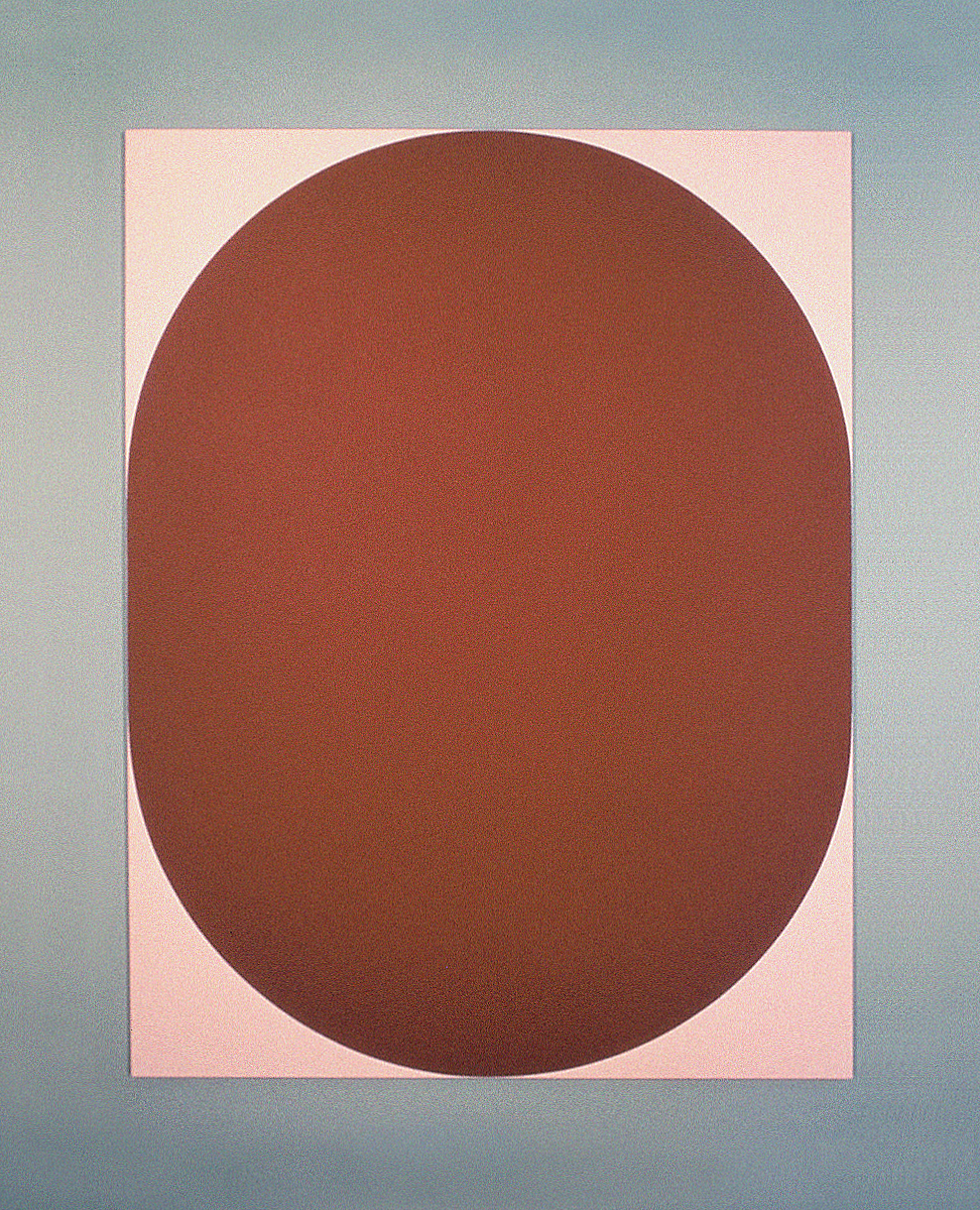 A large hard-edge painting of a pink oval that touches the edges of the canvas.
