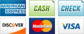 We accept American Express, Cash, Checks, Discover, MasterCard and Visa.||||