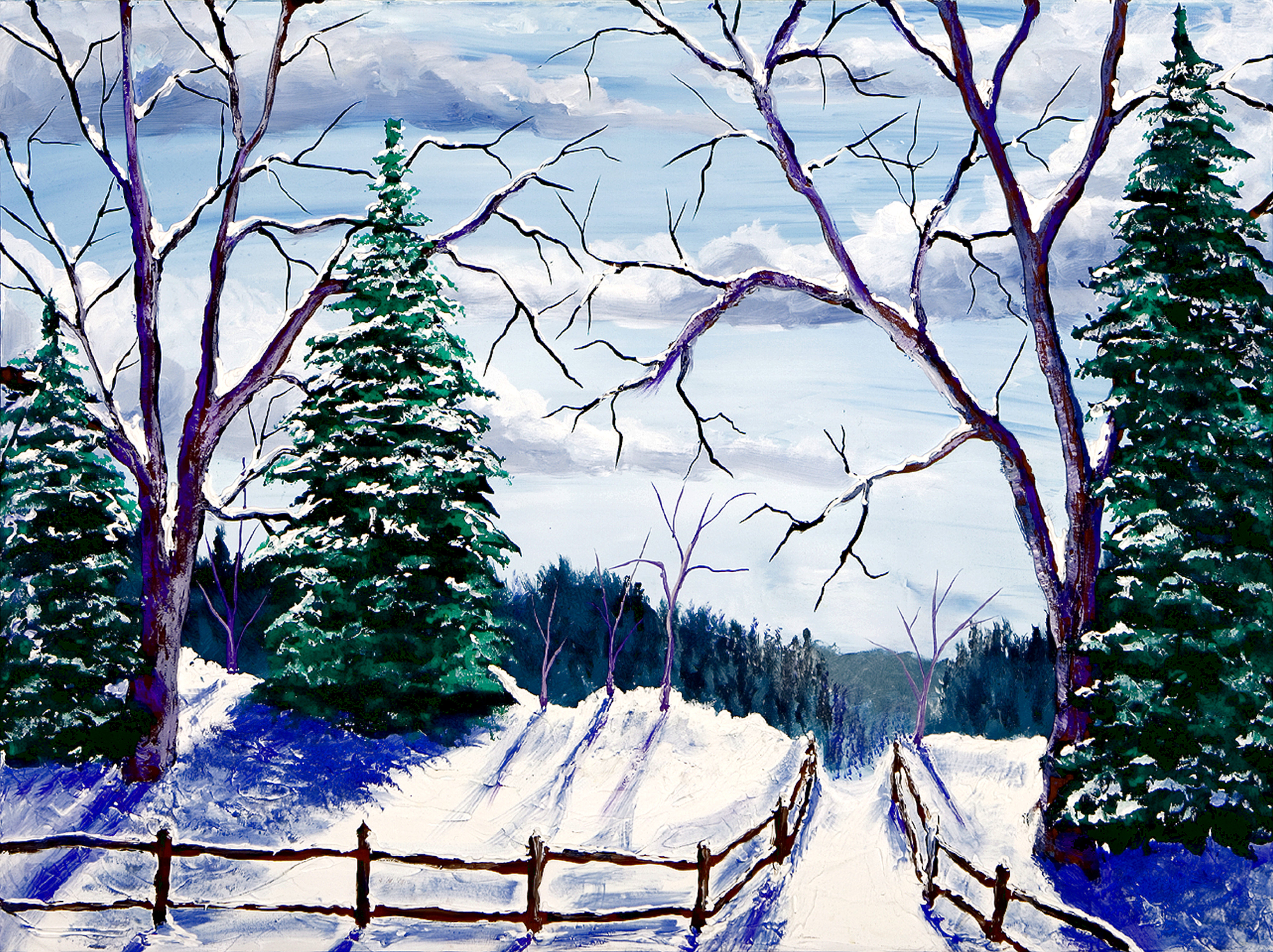 """BATEMAN TREE PATH    30X40""""  $550    HIGHLIGHTED WITH GLOW IN DARK LUMINESCENT PAINT"""