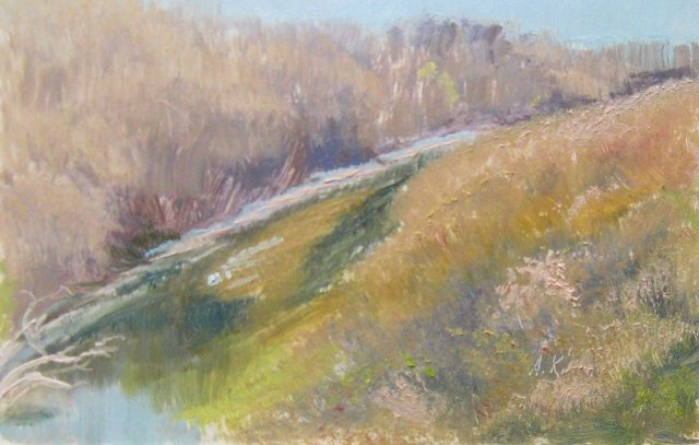 9. Maury River from I-64 Bridge, View South, 4x6 oil on panel