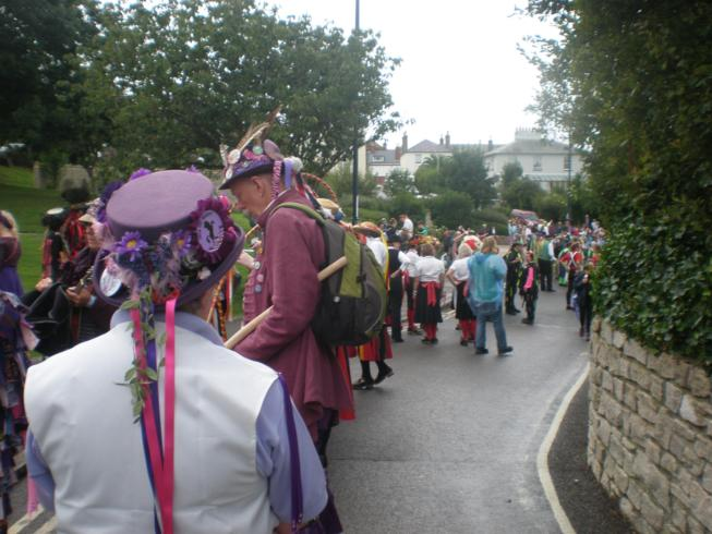 Looking down at the start of the parade