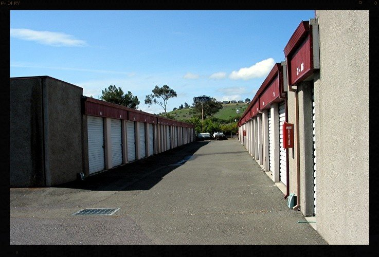 view of wide driveways for drive up storage units