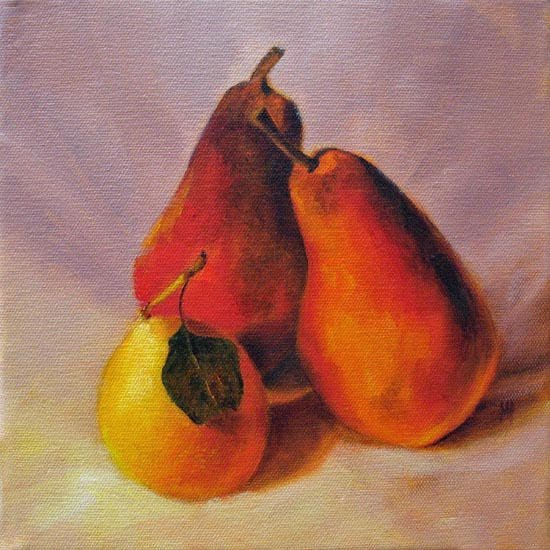 Pear Family 8x8   Oil on canvas SOLD
