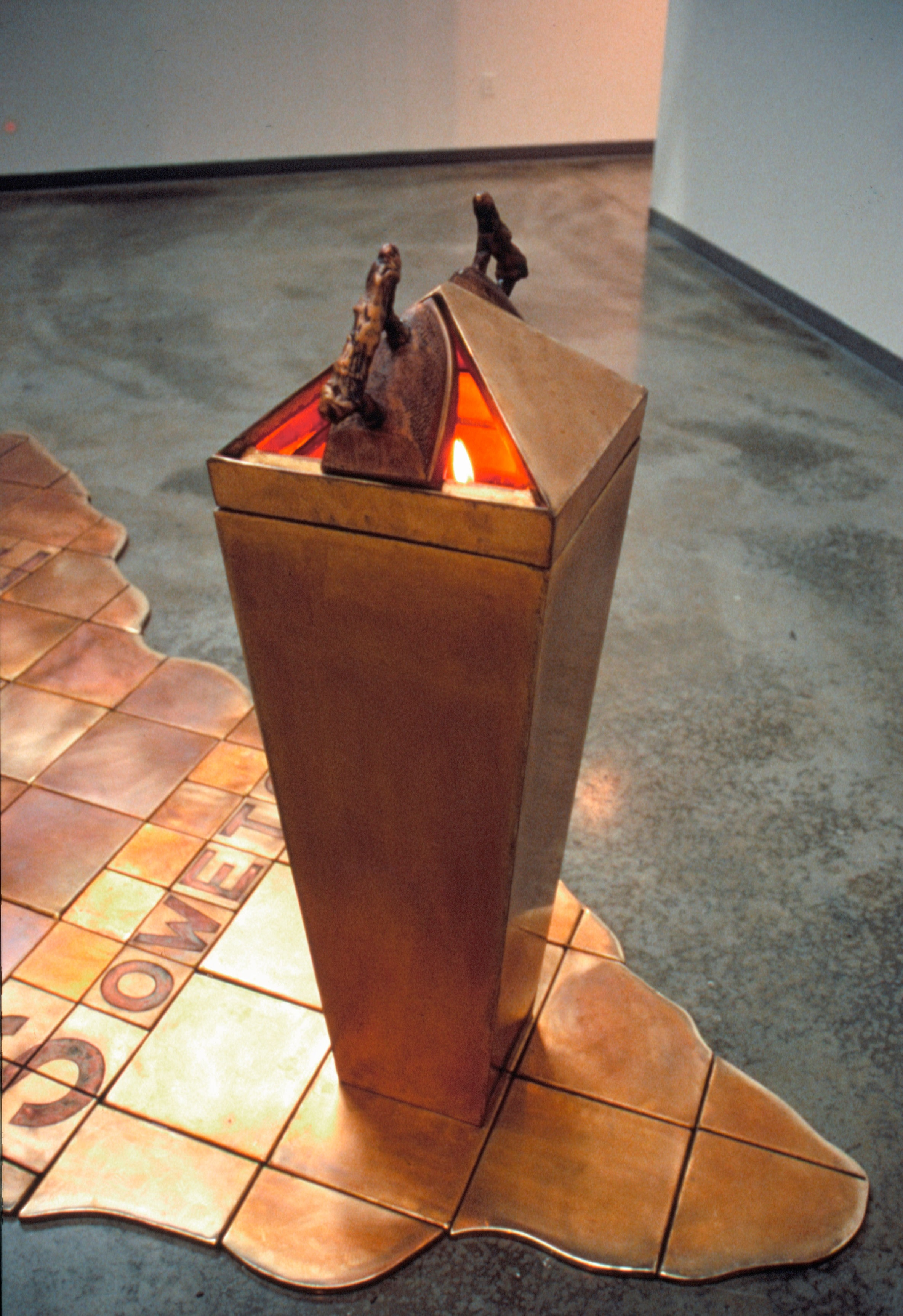 Fire for Biko (Integral Pedestal with Iron Elements) - 1990,  Fabricated Bronze with Patina - Integral Flame