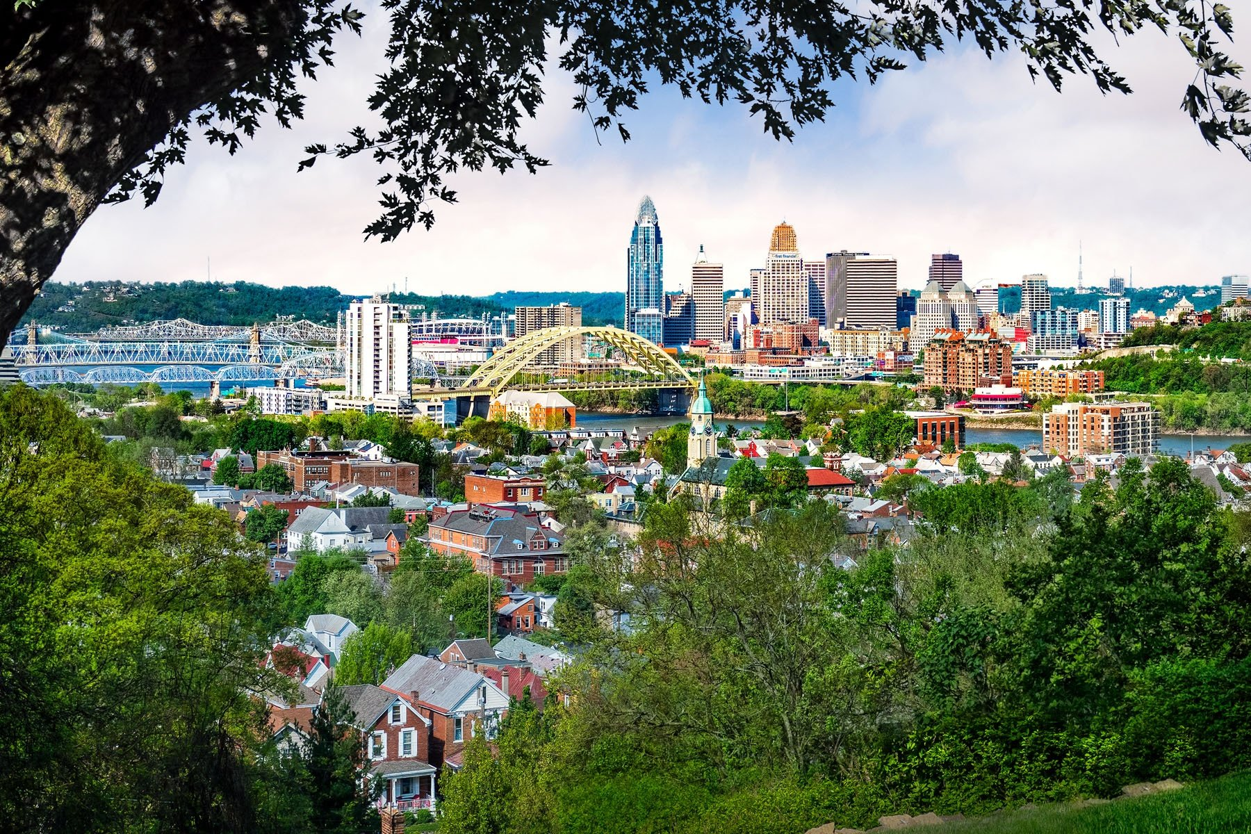 BRIDGES - This Cincinnati skyline view from the hills above Newport shows the many bridges crossing the Ohio River that help make the strong tie that Cincinnati has with northern Kentucky.