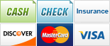 We accept Cash, Checks, Insurance, Discover, MasterCard and Visa.||||