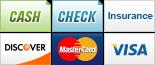 We accept Cash, Checks, Insurance, Discover, MasterCard and Visa.||||