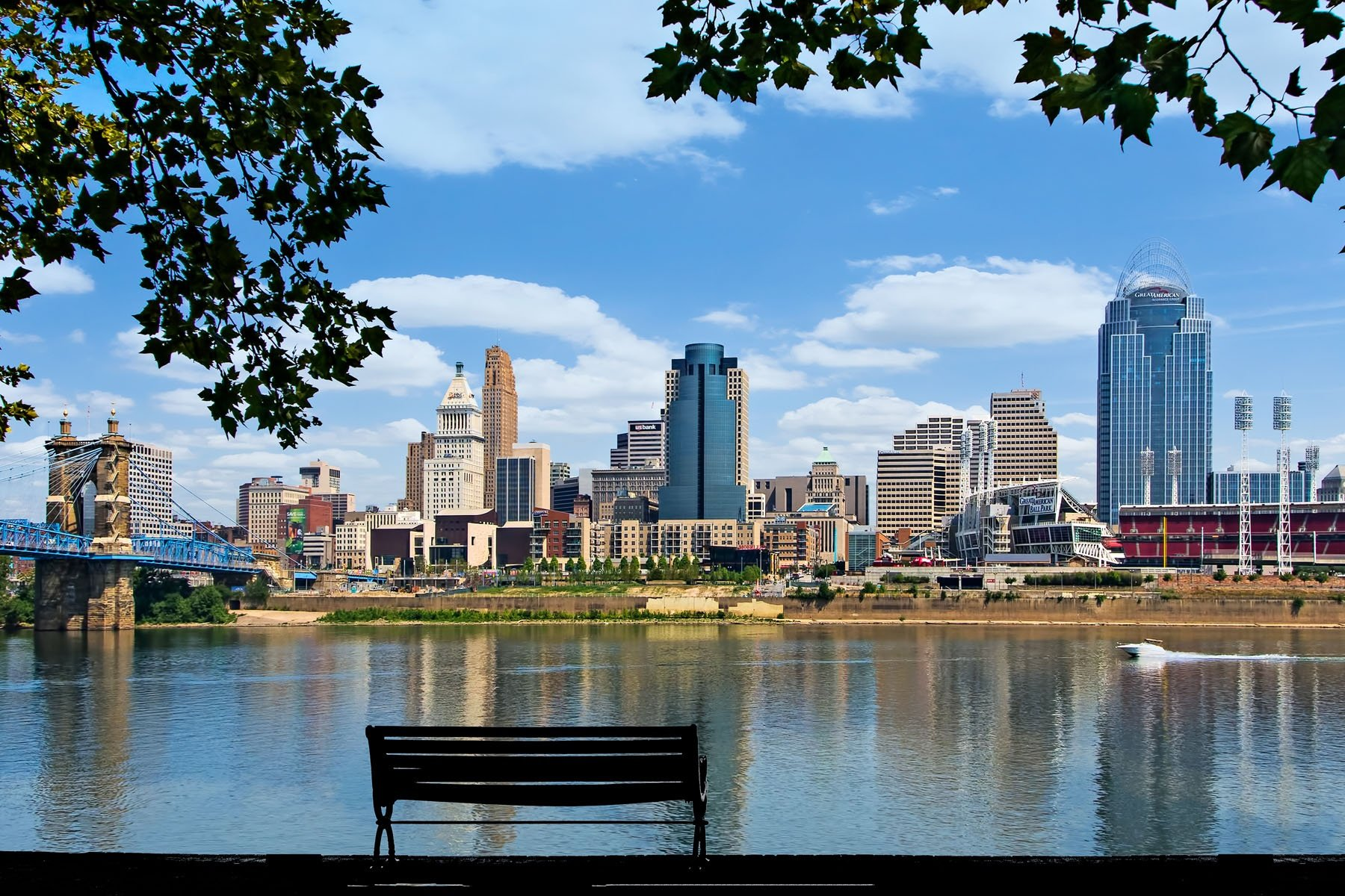 FROM RIVERSIDE DRIVE - Not only is it a pleasant walk along Riverside Dr. in Newport, it's also a wonderful view of Cincinnati.