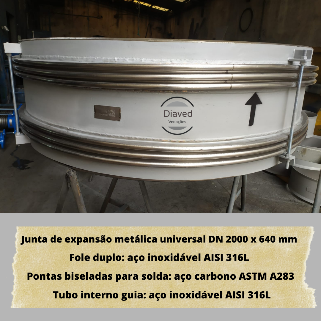 Junta de expansão metálica universal DN 2000 x 640 mm
