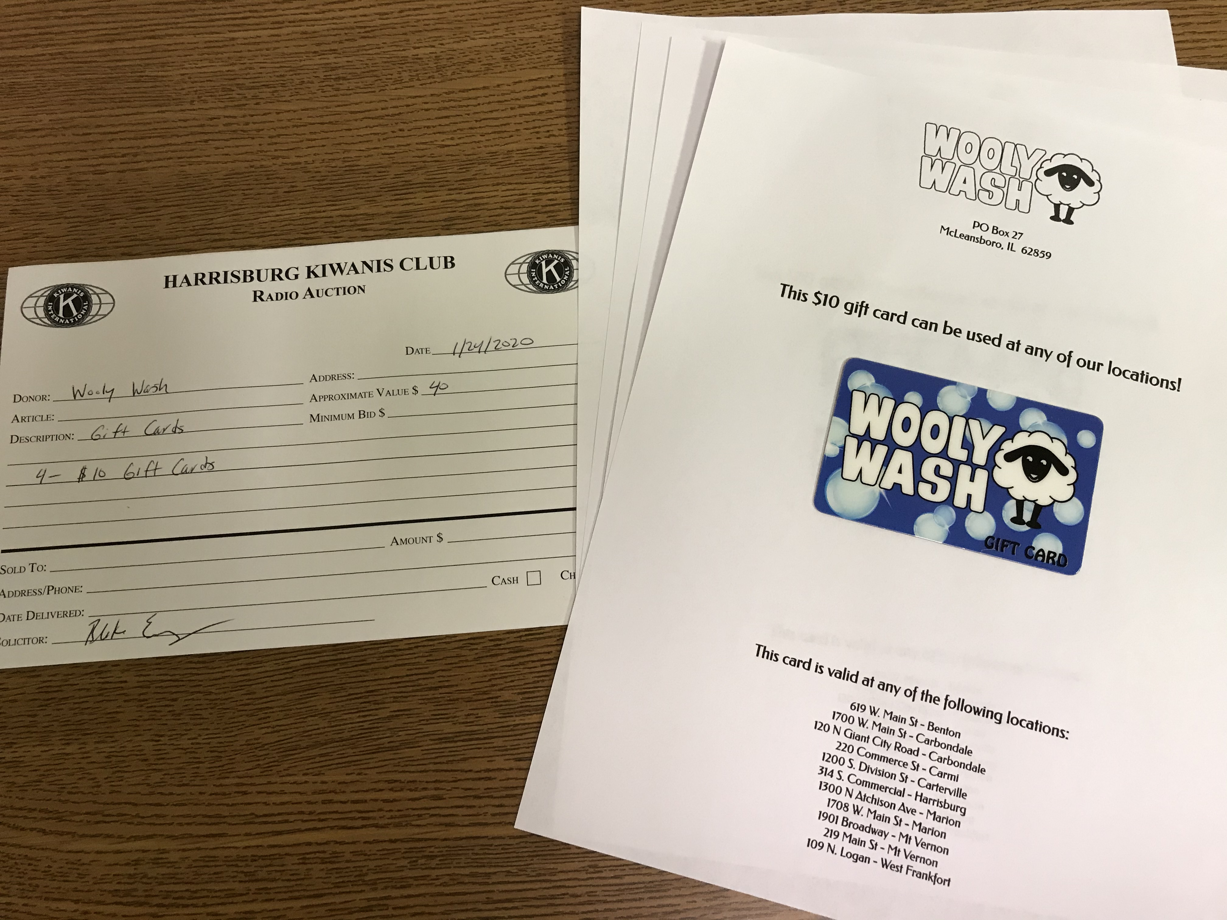 Item 429 - Wooly Wash 4 - $10 Gift Cards