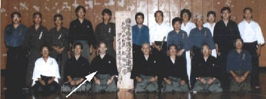Power sensei after award of his kanban, following passing the test for 6th dan and Renshi teaching license. To his right, Suzuki Kunio sensei (kyoshi, 8th dan); to his left, Sato Shimeo sensei (hanshi, 9th dan).