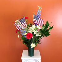 Fresh Flower Vase Arrangement Patriotic