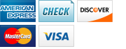We accept American Express, Checks, Discover, MasterCard and Visa.||||