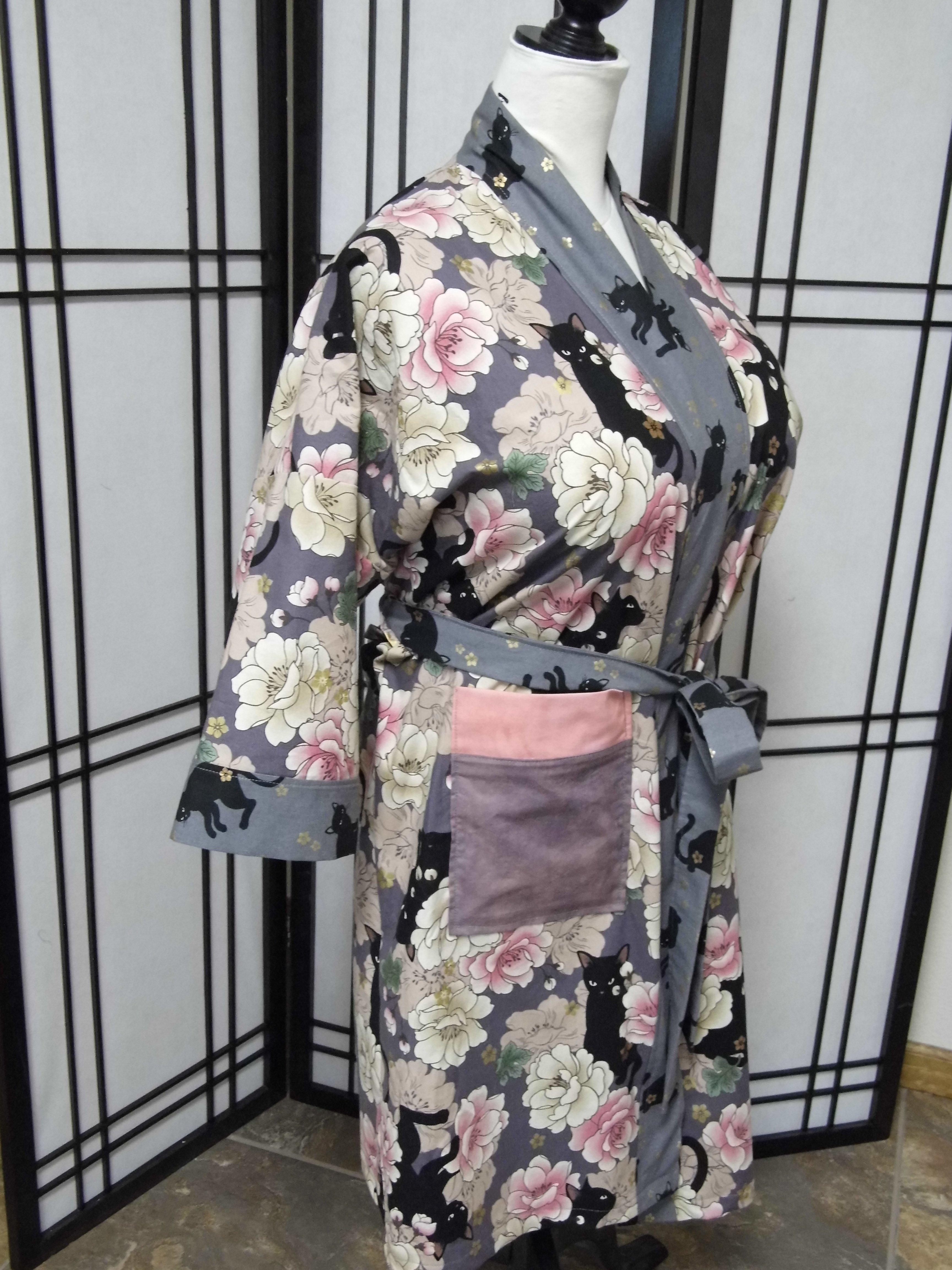 Plum Kitties Kimono Robe (Front)