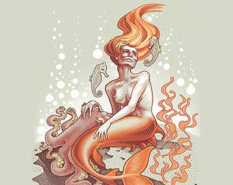 "The Mermaid Silkscreen 16"" X 20"" $60."